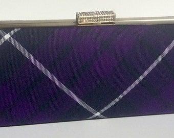Purple tartan/plaid clutch bag with chain