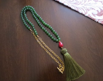 Long tassel necklace with green jade