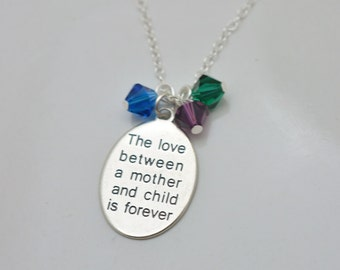 Mothers Birthstone Necklace, Sterling Silver Mom Necklace, Childrens Birthstones, Mothers Day Gift for Mom, Gift for Her 0378