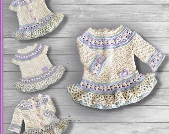 Lavender Child Dress and Cardigan crochet pattern