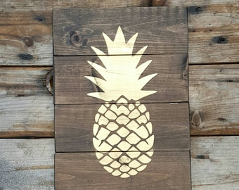 Pineapple wall decor, Pineapple gifts, Gold pineapple, Wood wall art, boho wooden sign for home