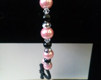 Pink and Black Pearl Bracelet
