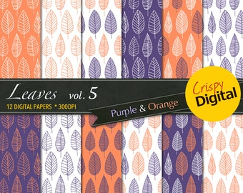 Lovely Leaves Digital Papers Purple and Orange 12pcs 300dpi Digital Download Collage Sheets Scrapbooking Leaves Printable Paper