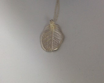 Pure Silver ROSE LEAF Pendant Necklace      1137