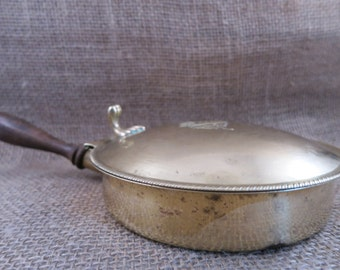 Vintage Crumb Catcher Silver Plate Silent Butler Wood Handle Shabby Style Cottage Chic