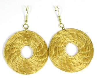 Wheel goldengrass Brazilian earrings