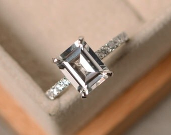 White topaz engagement ring, sterling silver, emerald cut white topaz ring, promise ring