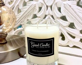 White Tea & Raspberry - Double Wick Soy Wax Candle