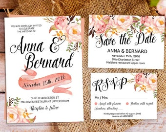 wedding invitation, boho Floral Wedding Invitation Suite, bohemian wedding invites, boho chic wedding invitation, peach wedding invite