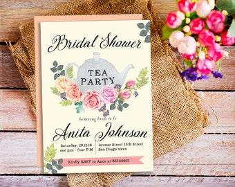 Bridal shower Tea Party Invitation, Tea Party Invite, tea party bridal shower invitation, Garden Party, Floral Invitation, printable bridal