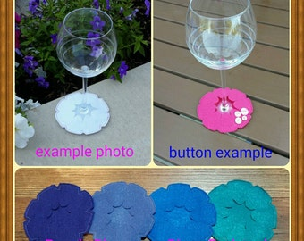 Wine glass coasters, set of 4. Pick your own color combination, 27 options!