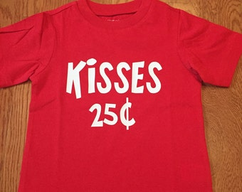 Boys Valentine Shirt, Kisses 25Cent. Toddler Valentine Shirt. Valentine Day Gift. Boys Valentine Shirt. Girls Valentine Shirt