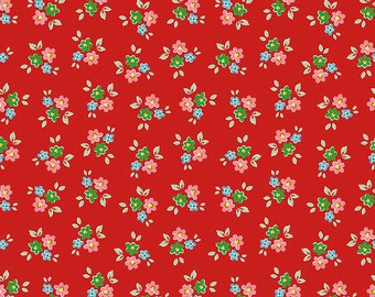 35% off - 2 yards Riley Blake Designs Backyard Bouquet Red Floral C5291-RED