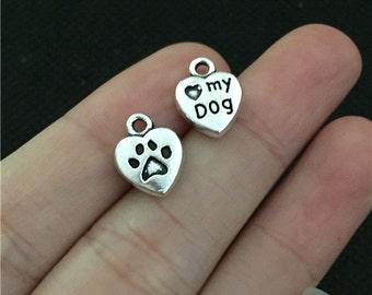 BULK 50 Dog Paw Heart Charms Antique Silver Tone 2 Sided Dog Charm - WS7277