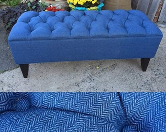 Bench Ottoman. Aqua Blue. Diamond Tufted [Bed bench, Hallway Bench, Footstool]- Custom Upholstery