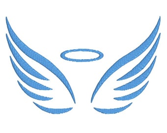 angel wings machine embroidery design for kids, instant download, 3 sizes