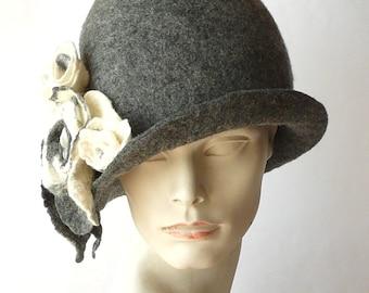 Grey Cloche hat Felted Hat  Cloche 1920's hat Retro hat Fedoras Flapper  Victorian 1920s Felt hat women hat Wool