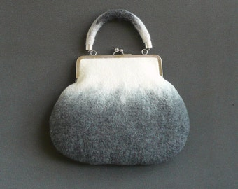 Felt bag felted handbag Woman's  bag Handbag Felt Bag  White grey bag Bags art unique bag