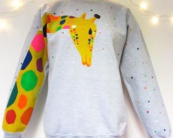 Hand Painted Giraffe Sweatshirt