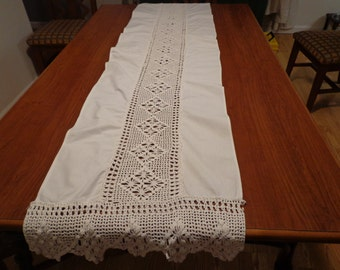 "Stunning Vintage Crocheted Antique White Table Runner - 67"" x 17 1/4"""