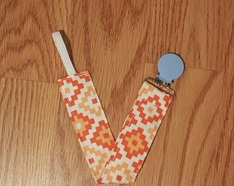 Pacifier clip- orange and red, mam nuk soothie gumdrop, universal, baby accessory, gender neutral, pacifier holder