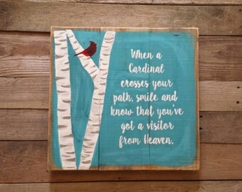 SEE SHOP ANNOUNCEMENT Cardinal Sign, Birch Tree, When you see a Cardinal Sign,  Visitor from Heaven Sign, Cardinal visitor from Heaven,