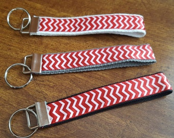 6 Inch Red Chevron Collection Key Fobs / Key Chain Wristlets / Chevron Key Fob Wristlet