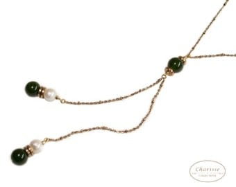Marshmallow Pearls with Jade Necklace