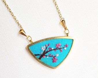 Custom Hand Embroidered Necklace - Embroidered Necklace Pendants - Hand Stitched Jewerly
