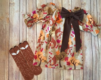 Handmade toddler girl's fox print peasant dress with removable bow