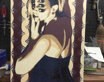 "Scopophobia - 15""x30"" stencil painting on canvas"