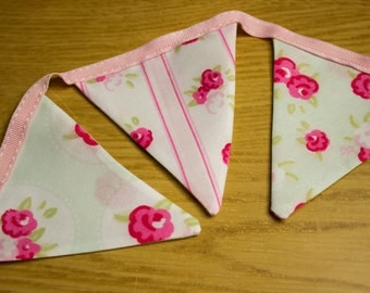 Shabby Chic Country Cottage Pink Green Floral Rose Bunting 145cm