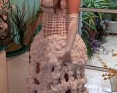 Knitted wedding dress,  Hair ties wedding dress, Scrunchies wedding dress, Rubber bands wedding dress, UNIQUE WEDDING DRESS!!!!!!!