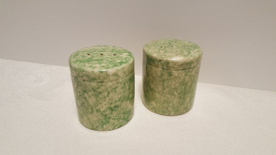 Stangl Tiffany & Company Green Caughley Salt and Pepper Shakers #5150