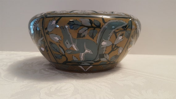 1911 Buffalo Pottery - Emerald Deldare 3.5'' x 8'' Nut Bowl with Squirrels and Acorns, signed M. Broel