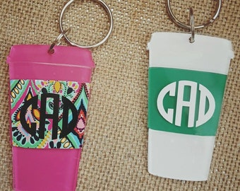 "Coffee cup keychain; ""starbucks"" keychain"