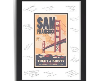 Golden Gate Bridge Wedding Personalized Art Guest Signing System (Medium)