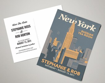 Downtown New York Wedding Personalized Art Save The Date Postcards (200 QTY)