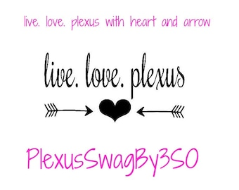 live. love. plexus with a heart and arrows - fun decals - cute decals - stickers for cups