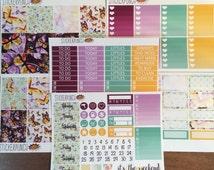 Erin Condren Vertical Planner Stickers Fluttering Fuschia Weekly Kit, water colour weekly kit
