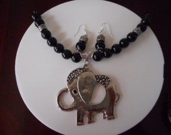 Necklace Black Onyx, big elephant, necklace for women, elephant in silver, Black Onyx