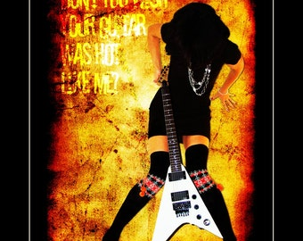 Guitar Art print, Walking on Fire; Wall decor, Music decor, Electric guitar, Music poster, Guitar poster