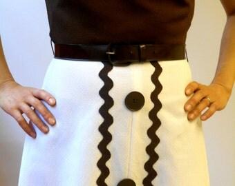 Vintage 60's dress // Cute vintage dress // Brown white dress // 60s dress // Mod dress // Mad men dress // Aline dress // XXS