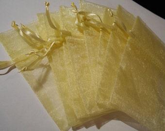 "30 Yellow Organza Bags 4"" by 3"" Sachet Satin Ribbon Drawstring Bags Gift Party Favors Shower Wedding"