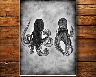 Octopus Print, Marine Decor, Antiqued Poster, Nautical Art BW256