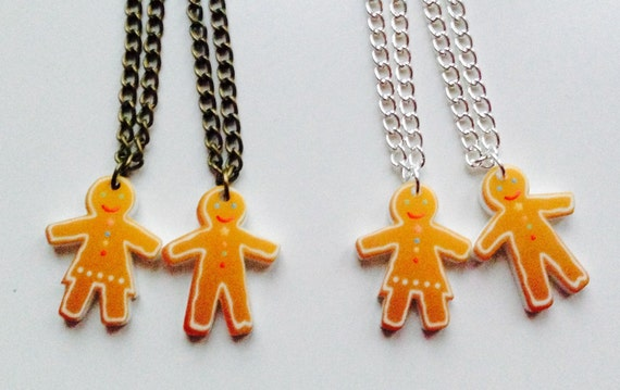 Gingerbread People Christmas Winter  Friendship Necklaces