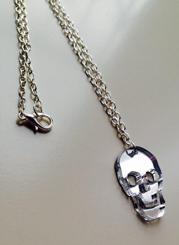 Skull | Halloween | Mirrored | Silver | Laser Cut | Acrylic | Necklace