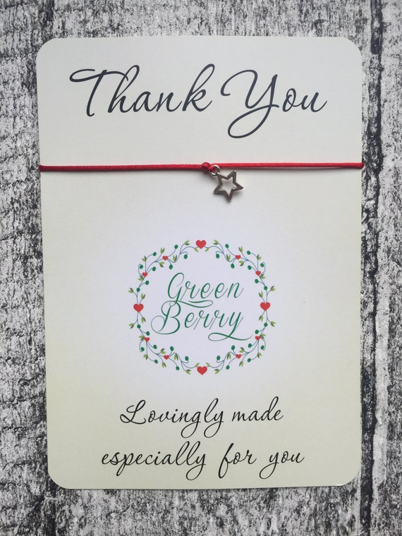 "Hollow Star charm String Bracelet on ""Thank You"" quote card stars thankyou wish bracelet madebygreenberry"