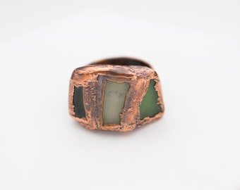 Spain Sea Glass Electroformed Copper Ring Size 7-1/2