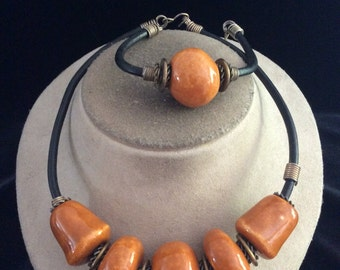 Vintage Chunky Brown Ceramic Necklace & Bracelet Set
